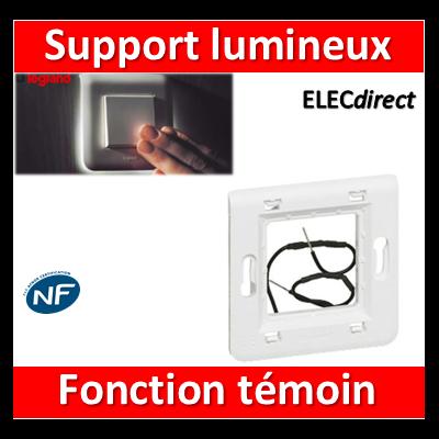 Legrand - Support 1 poste lumineux fonction témoin - Mosaic - Fixation VIS - 080262