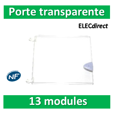 Schneider - Porte transparente pour coffret Opale - 13 modules 1 rangée - 13425