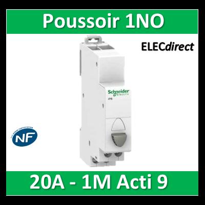 Schneider - Poussoir simple gris 1NO - 20A - 230V - SCHA9E18032