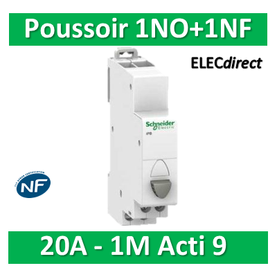 Schneider - Poussoir simple gris 1NO+1NF - 20A - 230V - SCHA9E18033