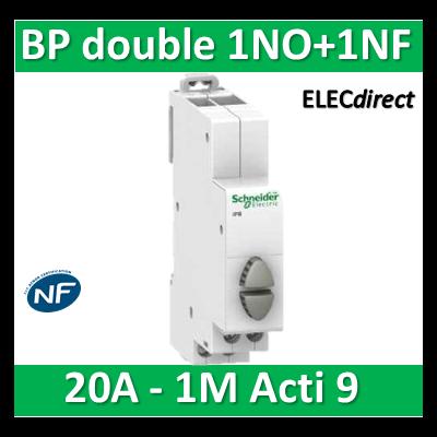 Schneider - Poussoir double 1NO vert + 1NF rouge - 20A - 230V - SCHA9E18034
