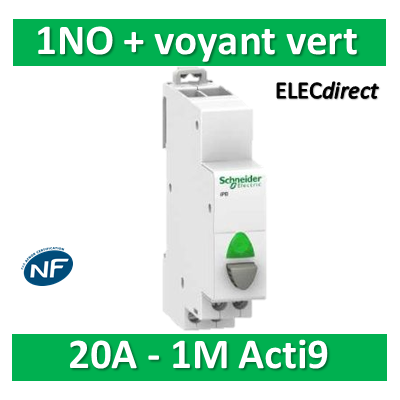 Schneider - Poussoir simple gris 1NO + voyant vert 20A - 230V - SCHA9E18036