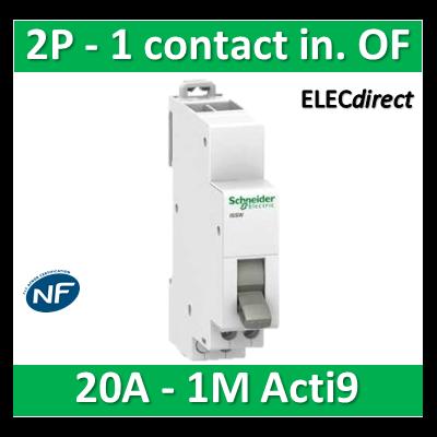 Schneider - Commutateur 2 positions - 1 contact inverseur OF 230V 20A - SCHA9E18070