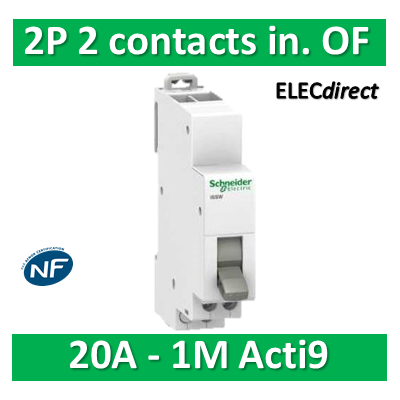 Schneider - Commutateur 2 positions - 2 contacts inverseurs OF 230V 20A - SCHA9E18071