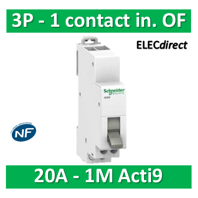 Schneider - Commutateur 3 positions - 1 contact inverseur OF 230V 20A - SCHA9E18073