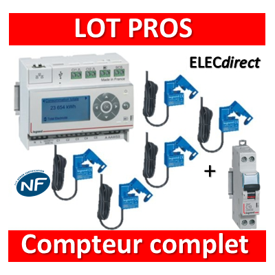 Legrand - ECOcompteur RT2012 - 5 entrées 230V MONO + Protection 2A - 412000 + 412002x5 + 406771