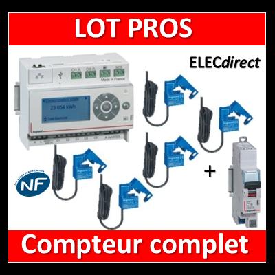 Legrand - ECOcompteur RT2012 - 5 entrées 230V MONO + Protection 2A - 412000 + 412002x5 + 406780