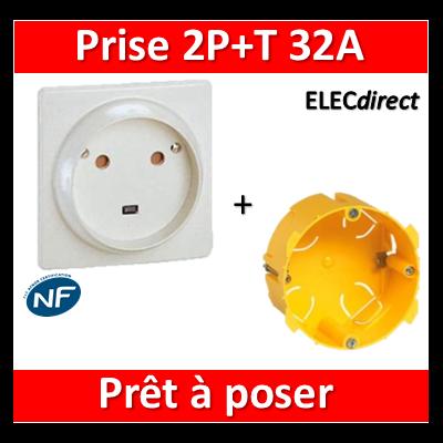Legrand - Socle 32A - Plast - 2P+T - à VIS - éclips + boîte batibox - 055812 + 089348