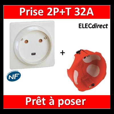 Legrand - Socle 32A - Plast - 2P+T - à VIS - éclips + boîte SIB BBC - 055812 + 38640