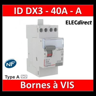 LEGRAND - Inter différentiel DX3 2P - 40A - 30mA - Type A - Départ Haut à vis - 411617