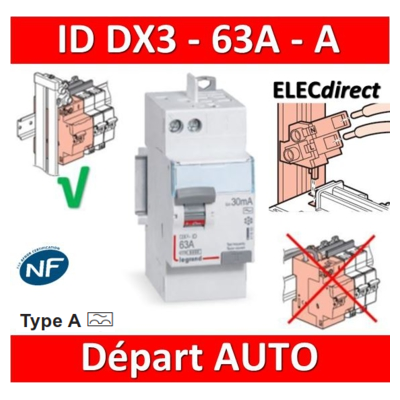 LEGRAND - Inter différentiel DX3 2P - 63A - 30mA - Type A - Départ Haut  Auto - 411651