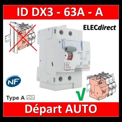 LEGRAND - Inter Différentiel DX3 2P - 63A - 30mA - Type A - Départ Haut Auto - 411639