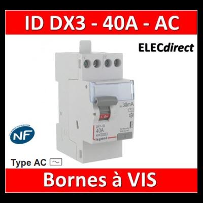 LEGRAND - Inter différentiel DX3 2P - 40A - 30mA - Type AC - Départ Haut à vis - 411611