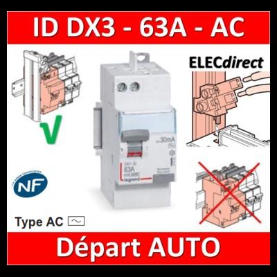 LEGRAND - Inter différentiel DX3 2P - 63A - 30mA - Type AC - Départ Haut  Auto - 411650