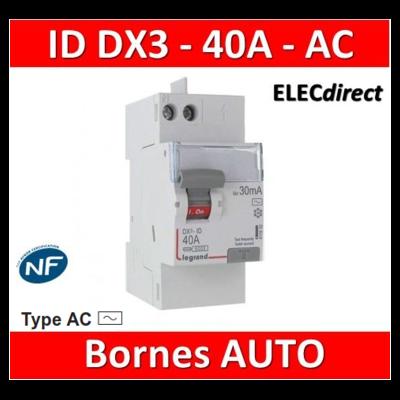 LEGRAND - Inter Différentiel DX3 2P - 40A - 30MA - Type AC - Départ Haut auto - 411632