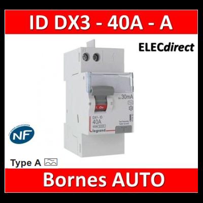 LEGRAND - Inter Différentiel  DX3  2P - 40A - 30MA - Type A - Départ Haut auto - 411638
