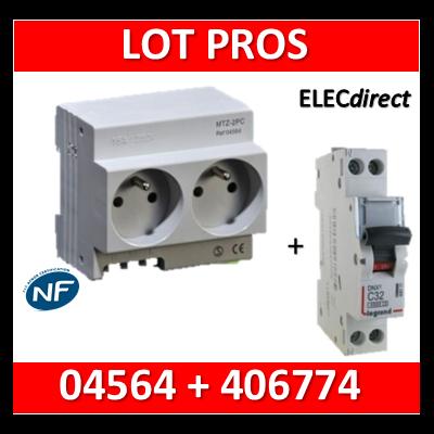 Legrand - LOT PROS - 2xPC 2P+T Modulaire précâblé DIGITAL + disjoncteur 16A - 04564 + 406774
