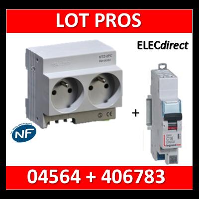 Legrand - LOT PROS - 2xPC 2P+T Modulaire précâblé DIGITAL + disjoncteur 16A - 04564 + 406783