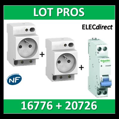 Schneider - LOT PROS - PC 2P+T 16A 220V  Modulaire x 2 + disjoncteur 16A - 16776x2 + 20726