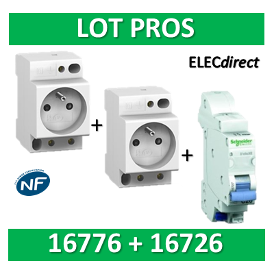 Schneider - LOT PROS - PC 2P+T 16A 220V  Modulaire x 2 + disjoncteur 16A - 16776x2 + 16726