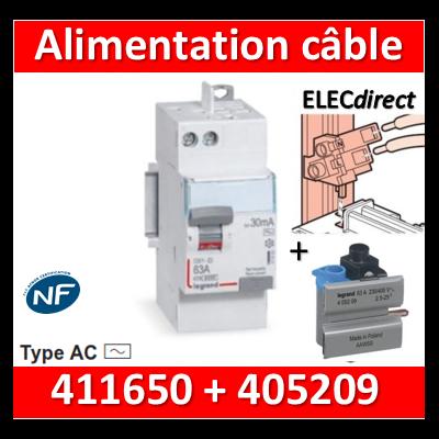 LEGRAND - ID DX3 2P - 63A - 30mA - Type AC - alimentation câble - 411650+405209