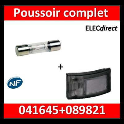 Legrand - Bouton poussoir porte-étiquette + lampe Néon 230V- 041645+089821