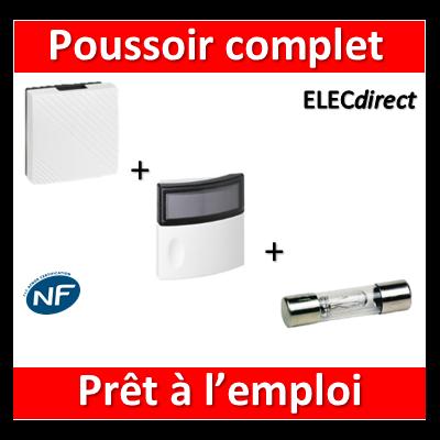 Legrand - Carillon avec transfo. incorporé + bouton poussoir lumineux 12V - 041652+041647+089826