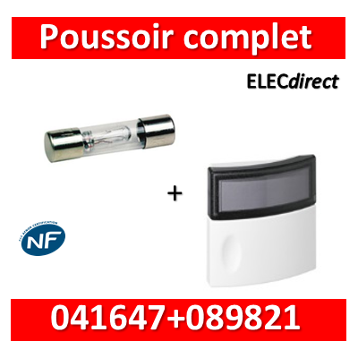 Legrand - Bouton poussoir porte-étiquette + lampe Néon - 041647+089821