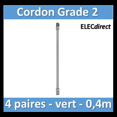 Tonna - Cordon grade 2 - 4 paires RJ45/RJ45 - l. 0,4m vert - 828653