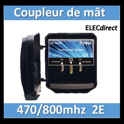 Tonna - Coupleur de mât 470/800MHZ  4G - 2 entrées - 360022
