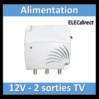Tonna - Alimentation pour antenne Azur, amplificateur et préamplificateur de mât - 12V - 301055