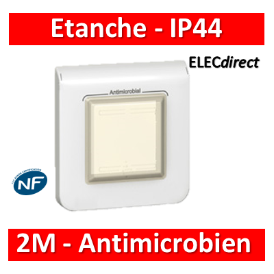 Mosaic - Plaque antimicrobien  étanche IP44 - 2 modules - Blanc - 078880