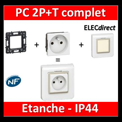 Legrand Mosaic - Prise de courant 2P+T 16A complet - IP44 - 1 poste (2M) - 230V
