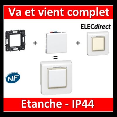 Legrand Mosaic - Va-et-Vient complet - 1 poste (2M) - 10A - IP44 - 230V