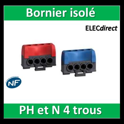 Schneider - Bornier isolé Ph et N 4 trous pour coffret Opale - 13405