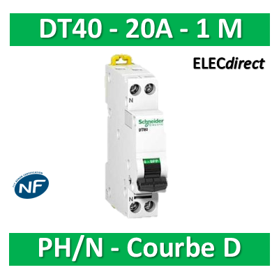 Schneider - DT40 Disjoncteur PH/N - 20A Courbe D - A9N21377