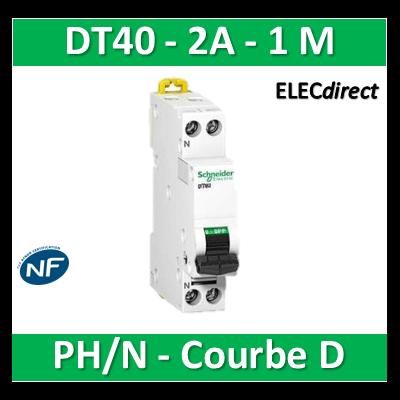 Schneider - DT40 Disjoncteur PH/N - 2A Courbe D - SCHA9N21372