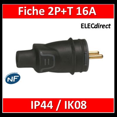 Legrand - Fiche 2P+T 16A - caout - IP44 / IK08 - sortie droite - 050445