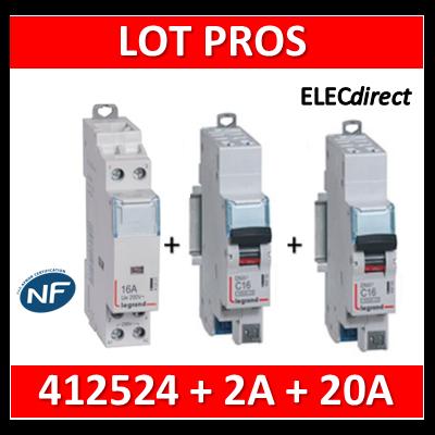 Legrand - LOT PROS - Contacteur 2P 25A - 2O + disjoncteur 2A DNX3 + disjoncteur 20A DNX3 - 412524+406780+406784