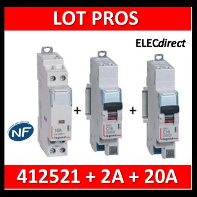 Legrand - LOT PROS - Contacteur 2P 25A - OF + disjoncteur 2A DNX3 + disjoncteur 20A DNX3 - 412521+406780+406784