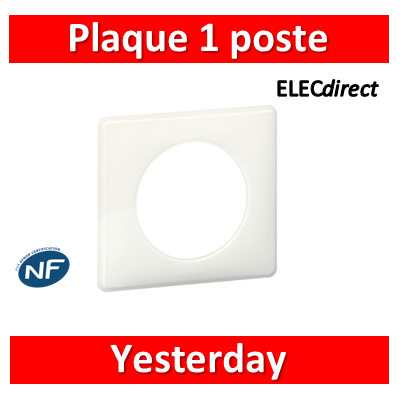 Legrand Céliane - Plaque de finition 1 poste Yesterday - Blanc - 066631