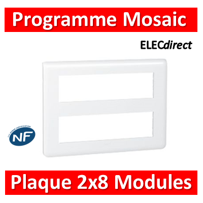 Legrand Mosaic - Plaque 2 x 8 modules - Blanc - 078837