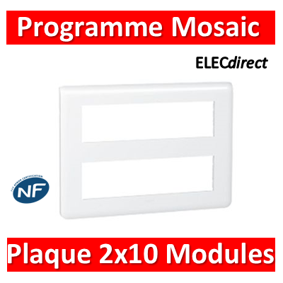 Legrand Mosaic - Plaque 2 x 10 modules - Blanc - 078828