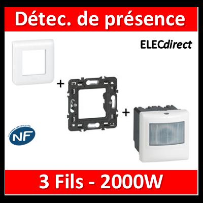 Legrand Mosaic - Détecteur de présence complet - ECO1 - 3 fils - 2000W - Blanc - 078452+078802+080251