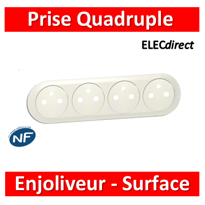Legrand Céliane - Enjoliveur Prise Quadruple blanc - Surface - 068114