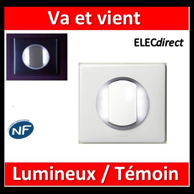 Legrand Céliane - Va et vient + voyant lumineux/témoin couronne lumineuse complet blanc 1 poste