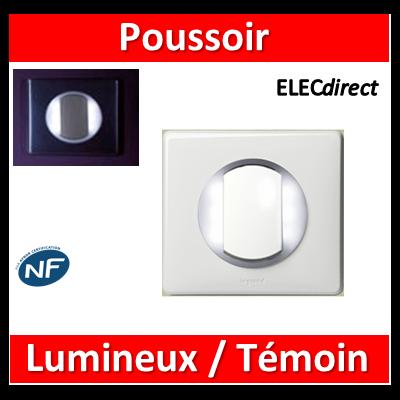 Legrand Céliane - Poussoir + voyant lumineux/témoin couronne lumineuse complet blanc 1 poste