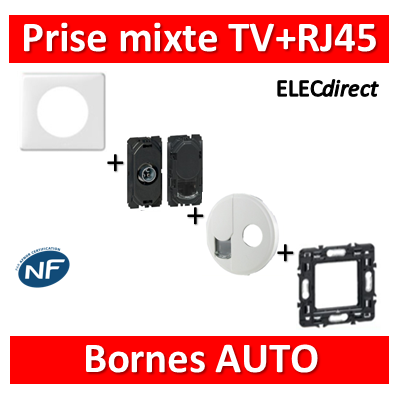 Legrand Céliane - Prise mixte TV et RJ45 cat. 6 FTP blanc complet