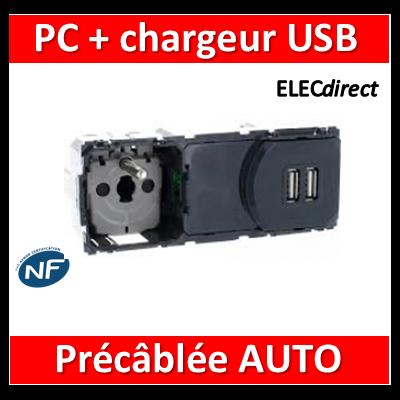 Legrand Céliane - Mécanisme PC 2P+T + Chargeur USB précâblée AUTO - 067106