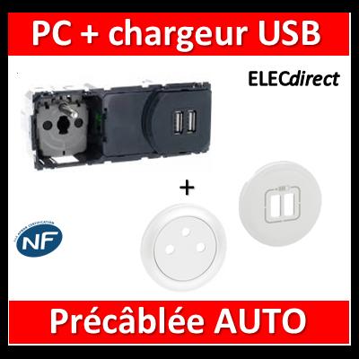 Legrand Céliane - Mécanisme + enjoliveur PC + Chargeur USB précâblée - 067106+068111+068256